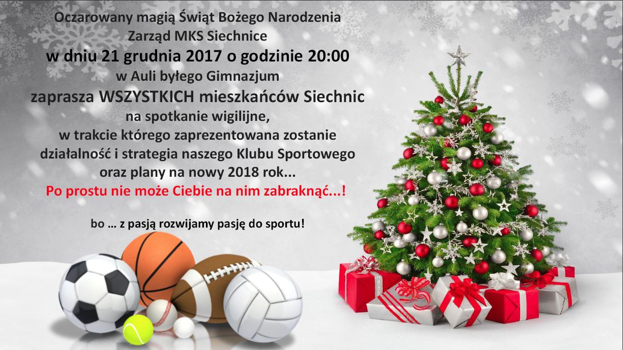 Gmina Siechnice Zaproszenie Na Spotkanie Wigilijne Mks Siechnice