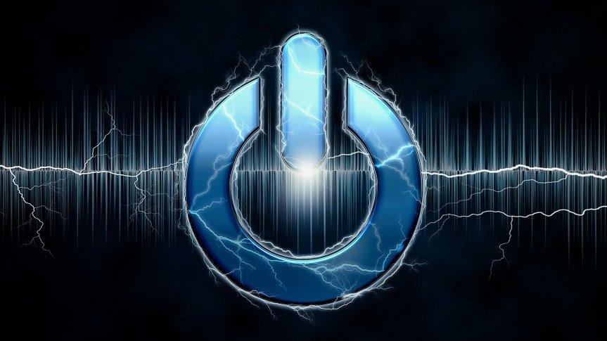 Symbol włączenia/wyłączenia, niebieski na czarnym tle. Przechodzące przez niego wiązki energii.