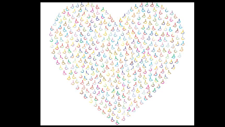 Duże serce z kolorowych wózków inwalidzkich