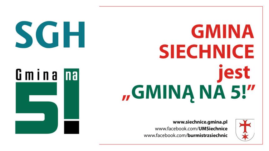 """Gmina Siechnice nagrodzona tytułem """"Gmina na 5!"""""""