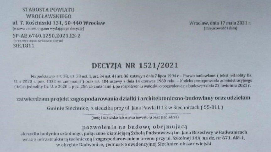 Decyzja Starosty Wrocławskiego